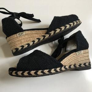 UGG Delmar Black Espadrille Wedge Sandals